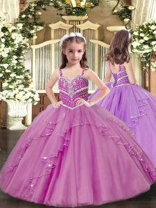 Tulle Sleeveless Floor Length Pageant Gowns and Beading and Ruffles