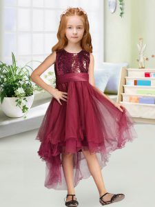Hot Sale Sleeveless Sequins and Bowknot Zipper Pageant Gowns For Girls