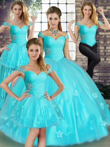 Adorable Sleeveless Beading and Appliques Lace Up Quince Ball Gowns
