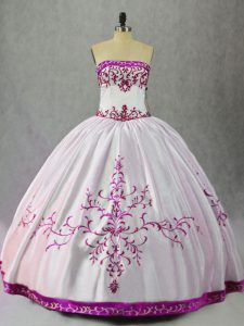 Affordable White And Purple Lace Up Strapless Embroidery Ball Gown Prom Dress Taffeta Sleeveless