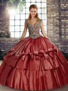 Pretty Sleeveless Lace Up Floor Length Beading and Ruffled Layers Sweet 16 Dress