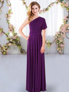 Purple Criss Cross One Shoulder Ruching Court Dresses for Sweet 16 Chiffon Sleeveless
