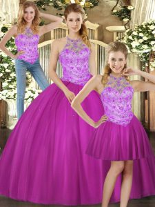 Sophisticated Halter Top Sleeveless Quinceanera Gown Floor Length Beading Fuchsia Tulle