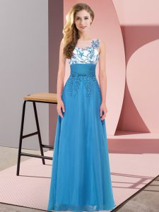Customized Scoop Sleeveless Dama Dress Floor Length Appliques Blue Chiffon