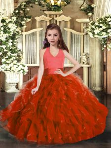 Super Rust Red Lace Up Halter Top Ruffles Pageant Dress for Teens Organza Sleeveless