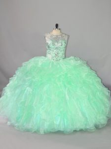 Apple Green Sleeveless Beading and Ruffles Floor Length Sweet 16 Dresses