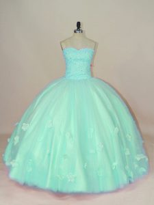 Excellent Floor Length Apple Green Quinceanera Dress Tulle Sleeveless Hand Made Flower