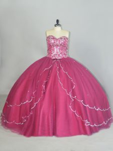 Fitting Red Ball Gowns Sweetheart Sleeveless Tulle Brush Train Lace Up Beading and Sequins 15th Birthday Dress