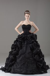 Black Ball Gowns Organza Sweetheart Sleeveless Embroidery and Pick Ups Lace Up 15th Birthday Dress Brush Train