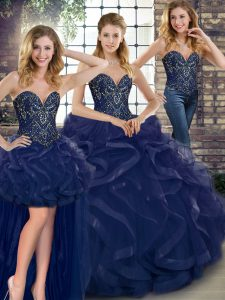 Glamorous Navy Blue Quinceanera Gowns Military Ball and Sweet 16 and Quinceanera with Beading and Ruffles Sweetheart Sleeveless Lace Up