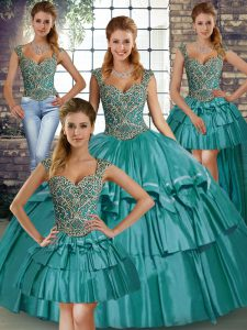 Teal Straps Neckline Beading and Ruffled Layers 15 Quinceanera Dress Sleeveless Lace Up
