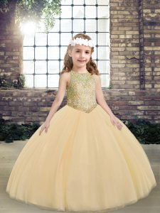 Attractive Sleeveless Beading Lace Up Little Girls Pageant Gowns