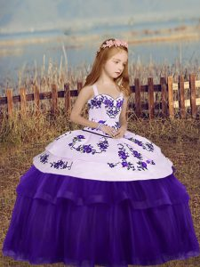 Floor Length Eggplant Purple High School Pageant Dress Tulle Sleeveless Embroidery