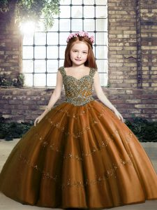 Sleeveless Lace Up Floor Length Beading Kids Pageant Dress