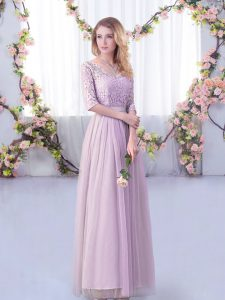 Captivating Lavender Tulle Side Zipper V-neck Half Sleeves Floor Length Damas Dress Lace and Belt