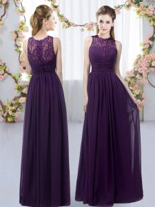 Deluxe Floor Length Dark Purple Quinceanera Dama Dress Chiffon Sleeveless Lace