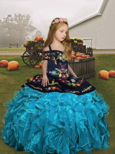 Colorful Ball Gowns Girls Pageant Dresses Aqua Blue Straps Organza Sleeveless Floor Length Lace Up