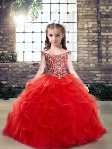 Artistic Off The Shoulder Sleeveless Pageant Gowns Floor Length Beading and Ruffles Red Tulle