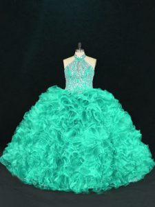 Turquoise Ball Gowns Organza Halter Top Sleeveless Beading and Ruffles Floor Length Lace Up 15 Quinceanera Dress