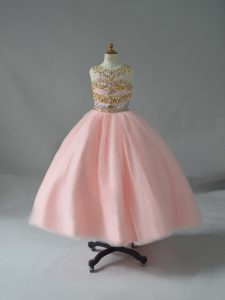 Beautiful Scoop Sleeveless Kids Pageant Dress Floor Length Beading Pink Tulle