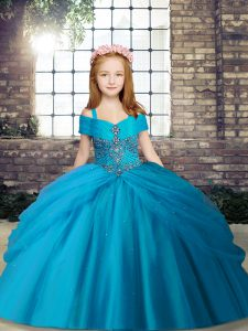 Floor Length Lace Up Girls Pageant Dresses Baby Blue for Party and Sweet 16 and Wedding Party with Beading