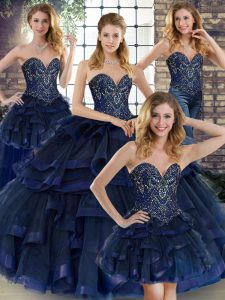 Eye-catching Navy Blue Ball Gowns Sweetheart Sleeveless Tulle Floor Length Lace Up Beading and Ruffles Quinceanera Dress