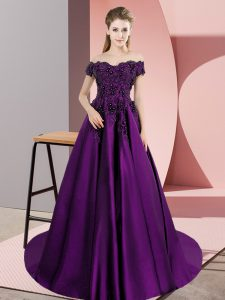 Comfortable Eggplant Purple Quince Ball Gowns Sweet 16 and Quinceanera with Appliques Off The Shoulder Sleeveless Court Train Zipper