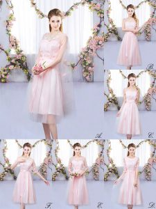 Adorable Baby Pink Empire Tulle V-neck Sleeveless Appliques Tea Length Lace Up Court Dresses for Sweet 16