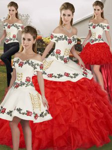 White And Red Quinceanera Dresses Military Ball and Sweet 16 and Quinceanera with Embroidery and Ruffles Off The Shoulder Sleeveless Lace Up