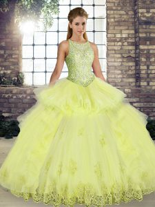 Lace and Embroidery and Ruffles Quinceanera Gown Yellow Lace Up Sleeveless Floor Length