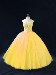 Gold Sleeveless Beading Floor Length Sweet 16 Quinceanera Dress