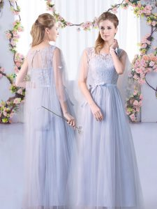 Grey Empire Scoop Sleeveless Tulle Floor Length Lace Up Lace Quinceanera Dama Dress