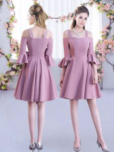 Custom Fit Off The Shoulder Half Sleeves Dama Dress Mini Length Ruching Pink Chiffon