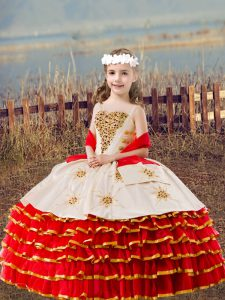 Red Ball Gowns Beading and Embroidery and Ruffled Layers Child Pageant Dress Lace Up Organza Sleeveless Floor Length