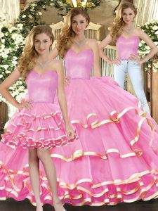 Rose Pink Sweet 16 Quinceanera Dress Military Ball and Sweet 16 and Quinceanera with Ruffled Layers Sweetheart Sleeveless Lace Up