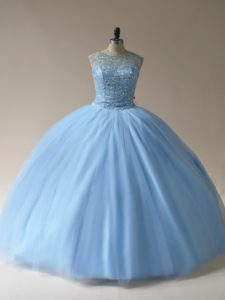 Light Blue Ball Gowns Tulle Scoop Sleeveless Beading Floor Length Lace Up Vestidos de Quinceanera