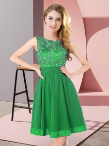 Adorable Mini Length Green Damas Dress Scoop Sleeveless Backless