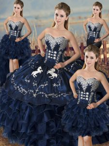 Flare Navy Blue Organza Lace Up Sweetheart Sleeveless Floor Length Sweet 16 Dresses Embroidery and Ruffles