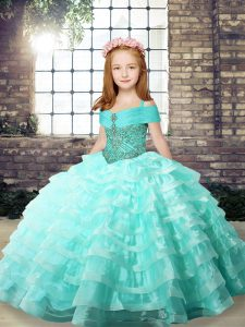 Apple Green Sleeveless Brush Train Ruffled Layers Pageant Gowns For Girls