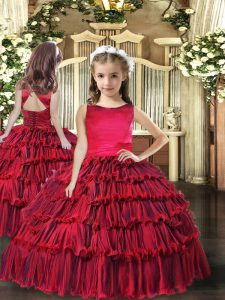 Sleeveless Floor Length Ruffled Layers Lace Up Evening Gowns with Red