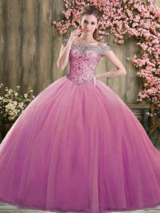 Dramatic Sleeveless Lace Up Floor Length Beading Ball Gown Prom Dress