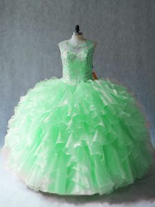 Low Price Scoop Sleeveless Quinceanera Dresses Floor Length Beading and Ruffles Organza