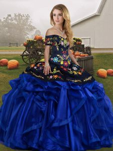 Fabulous Blue And Black Ball Gowns Embroidery and Ruffles 15 Quinceanera Dress Lace Up Organza Sleeveless Floor Length