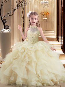 Light Yellow Lace Up High-neck Beading and Ruffles Little Girl Pageant Dress Tulle Sleeveless Brush Train
