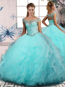 Aqua Blue Off The Shoulder Neckline Beading and Ruffles Quinceanera Gowns Sleeveless Lace Up