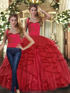 Red Tulle Lace Up Straps Sleeveless Floor Length Sweet 16 Dress Ruffles