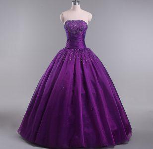 Floor Length Eggplant Purple Sweet 16 Dresses Strapless Sleeveless Lace Up