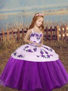 Customized Floor Length Ball Gowns Sleeveless Eggplant Purple Kids Pageant Dress Lace Up