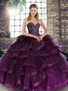 Ball Gowns Quinceanera Dress Dark Purple Sweetheart Tulle Sleeveless Floor Length Lace Up