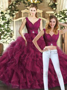 Cheap Burgundy Tulle Backless Sweet 16 Dresses Sleeveless Floor Length Beading and Ruffles